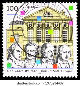 MOSCOW, RUSSIA - FEBRUARY 23, 2019: A stamp printed in Germany shows Schiller, Goethe, Wieland, Herder, German National theater, 1100 Anniversary of Weimar, European City of Culture serie, circa 1999