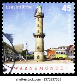 MOSCOW, RUSSIA - FEBRUARY 23, 2019: A stamp printed in German Federal Republic shows Warnemunde (built 1897/98), Lighthouses serie, circa 2008