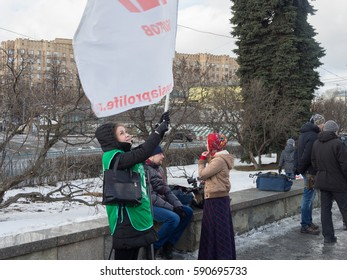 MOSCOW, RUSSIA -FEBRUARY 25, 2017: Rally for many children Russia. People demand of population growth