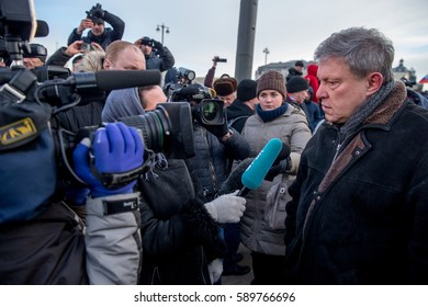 MOSCOW, RUSSIA - FEBRUARY 26, 2017: Grigory Yavlinsky, chairman of the Federal Political Committee of the Yabloko Party, give interview to the journalists after march in memory of  Boris Nemtsov.