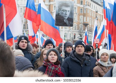 Moscow, RUSSIA - FEBRUARY 26, 2018: Thousands rally in Moscow to commemorate slain opposition leader Nemtsov before election. Alexei Navalny is a Russian lawyer and political activist..