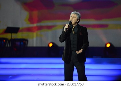 "MOSCOW, RUSSIA - FEBRUARY 27, 2014: Soso Pavliashvili - popular Georgian and Russian singer and actor.  Concert in the State Kremlin Palace ceremony ""Shield and rose""."