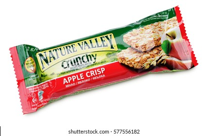 MOSCOW, RUSSIA - FEBRUARY 4, 2017: Nature Valley Crunchy Apple crisp granola bar isolated on white background. Granola bar with clipping path. Nature Valley bar are produced by General Mills.
