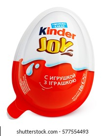 MOSCOW, RUSSIA - FEBRUARY 5, 2017: Front view of Kinder Joy (Kinder Merendero) isolated on white. Plastic egg-shaped packaging with clipping path. Kinder Joy made by confectionery company Ferrero