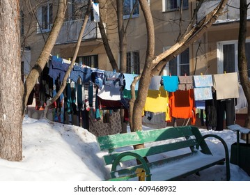Moscow, Russia, February 5, 2017: underwear drying after washing, in the courtyard of an apartment building