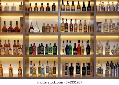 MOSCOW, RUSSIA - FEBRUARY 6: Various alcohol bottles in bar on February 6, 2017 in Moscow, Russian Federation