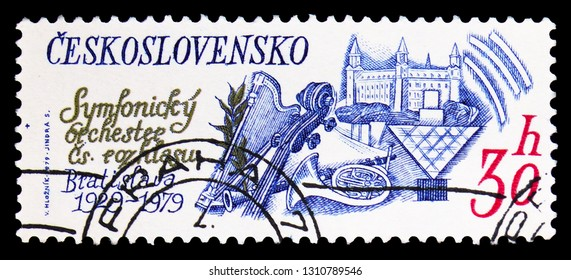 MOSCOW, RUSSIA - FEBRUARY 9, 2019: A stamp printed in Czechoslovakia devoted to The 50th Anniversary of Radio Symphony Orchestra, Bratislava, Anniversary serie, circa 1979