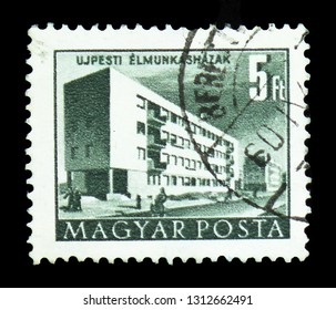 MOSCOW, RUSSIA - FEBRUARY 9, 2019: A stamp printed in Hungary shows Workers' Blockhouse, Buildings of the Five-Year-Plan in Budapest serie, circa 1958