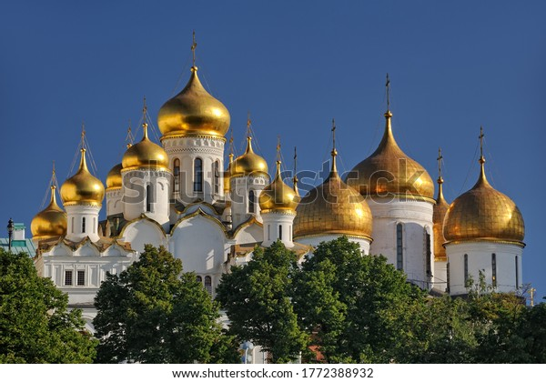 MOSCOW, RUSSIA -  Golden Cupolas of Moscow Kremlin. The view  from Sofiyskaya Embankment.