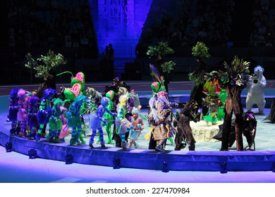 """MOSCOW, RUSSIA - JAN 06, 2013: Children's new year performance """"Circus Santa Claus II - Olympic New Year"""" in Olympic Stadium (sport complex)"""