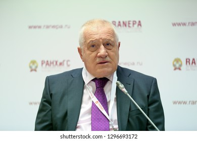MOSCOW, RUSSIA - JAN 12, 2017: The Czech economist and politician Vaclav Klaus, 2nd President of the Czech Republic at the Gaidar Forum 2017