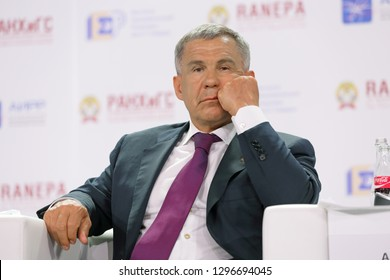 MOSCOW, RUSSIA - JAN 12, 2017: Rustam Nurgaliyevich Minnikhanov - Russian politician, President of Tatarstan at the Gaidar Forum 2017