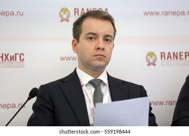 MOSCOW, RUSSIA - JAN 12, 2017: Nikolai Anatolyevich Nikiforov - Minister of Communications and Mass Media of Russia at the Gaidar Forum 2017