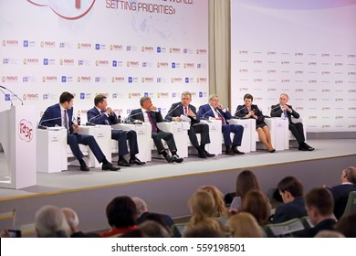 "MOSCOW, RUSSIA - JAN 12, 2017: Gaidar Forum 2017. Panel discussion ""New regional policy"" with the participation of Alexei Kudrin and regional governors"