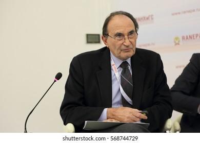 MOSCOW, RUSSIA - JAN 12, 2017: Emilio Lamo de Espinosa, the President of the Royal Institute of international and strategic studies Elcano (Spain) at the Gaidar Forum 2017