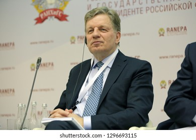 MOSCOW, RUSSIA - JAN 13, 2017: Esko Tapani Aho - Chairman of the Board of Directors of East Office of Finnish Industries, former Prime Minister of Finland at the Gaidar Forum 2017