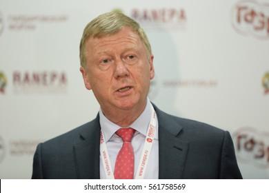 MOSCOW, RUSSIA - JAN 13, 2017: Anatoly Borisovich Chubais - Russian politician and businessman, Chairman of the executive board of Russian Nanotechnology Corporation (RUSNANO) at the Gaidar Forum 2017