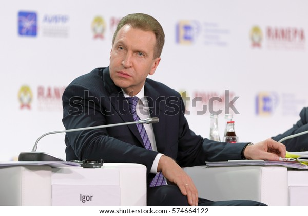 MOSCOW, RUSSIA - JAN 13, 2017: Igor Ivanovich Shuvalov - First Deputy Prime Minister of the Russian Federation at the Gaidar Forum 2017