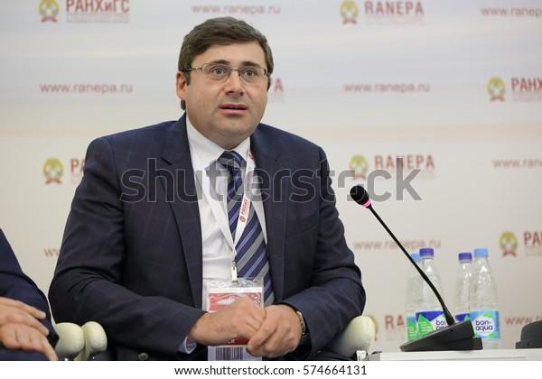 MOSCOW, RUSSIA - JAN 13, 2017: Sergey Anatolyevich Shvetsov, a Russian economist, first Deputy Chairman, Bank of Russia at the Gaidar Forum 2017