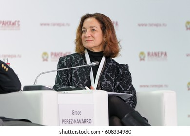 MOSCOW, RUSSIA- JAN 14, 2017: Grace Perez-Navarro - Vice Director of the Centre for tax policy and administration Organisation for Economic Co-operation and Development (OECD) at the Gaidar Forum 2017