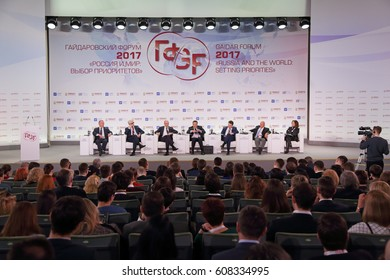 """MOSCOW, RUSSIA - JAN 14, 2017: Gaidar Forum 2017. Panel discussion """"The new tax policy of Russia: what changes are expected in 2018"""""""