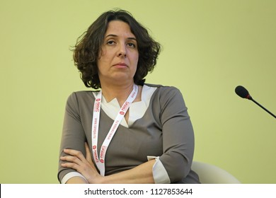 MOSCOW, RUSSIA - JAN 16, 2018: Elena Bunina HR - Director of Yandex, General Director of Yandex in Russia at the Gaidar Forum 2018