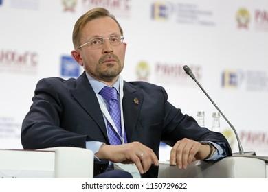 MOSCOW, RUSSIA - JAN 16, 2018: Alexander Vitalyevich Utkin - Russian businessman, General Director, Cotton Way at the Gaidar Forum 2018