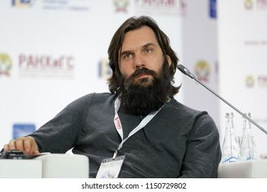 MOSCOW, RUSSIA - JAN 16, 2018: Alexey Vasilievich Vasilchuk - Russian restaurateur, Co-Owner, RESTart Holding at the Gaidar Forum 2018