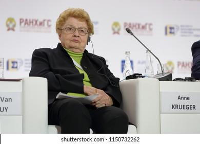 MOSCOW, RUSSIA - JAN 16, 2018: Anne Osborn Krueger - American economist, professor of international economics at the Johns Hopkins School of Advanced International Studies at the Gaidar Forum 2018