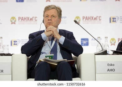 MOSCOW, RUSSIA - JAN 16, 2018: Esko Tapani Aho - Chairman of the Board of Directors of East Office of Finnish Industries, former Prime Minister of Finland at the Gaidar Forum 2018