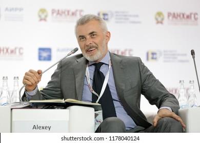 MOSCOW, RUSSIA - JAN 16, 2018: Vadim Georgievich Dymov (Zasypkin) - Russian businessman, Founder, Chairman, Board of Directors, Dymov at the Gaidar Forum 2018