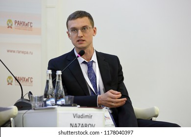 MOSCOW, RUSSIA - JAN 16, 2018: Vladimir Stanislavovich Nazarov, Director, Financial Research Institute of the Ministry of Finance of the Russian Federation at the Gaidar Forum 2018