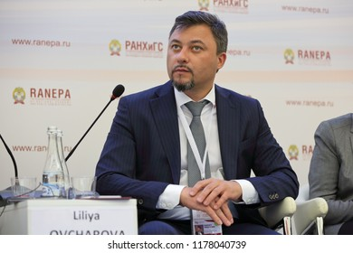 MOSCOW, RUSSIA - JAN 16, 2018: Alexey Vitalyevich Vovchenko, First Deputy Minister of Labor and Social Protection of the Russian Federation at the Gaidar Forum 2018
