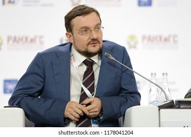 "MOSCOW, RUSSIA - JAN 16, 2018: Alexey Evgenievich Repik, President, All-Russian Public Organization ""Business Russia""; Chairman, Board of Directors, R-Farm Group at the Gaidar Forum 2018"