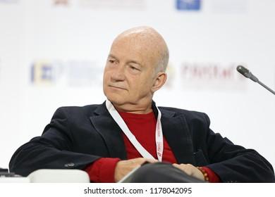 MOSCOW, RUSSIA - JAN 16, 2018: Rostislav Vadimovich Ordovskiy-Tanaevskiy Blanko - Venezuelan and Russian businessman, Founder, President, Rostik Group at the Gaidar Forum 2018