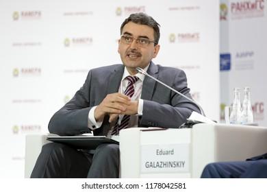 MOSCOW, RUSSIA - JAN 16, 2018: Eduard Vladimirovich Galazhinskiy, Russian psychologist, Rector, Tomsk State University at the Gaidar Forum 2018
