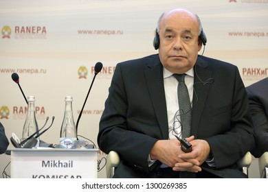 MOSCOW, RUSSIA - JAN 16, 2018: Mikhail Shvydkoy, Special Representative of the President of the Russian Federation for International Cultural Cooperation at the Gaidar Forum 2018