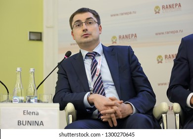 MOSCOW, RUSSIA - JAN 16, 2018: Pavel Ershov, Chief Operations Officer, Microsoft Russia at the Gaidar Forum 2018