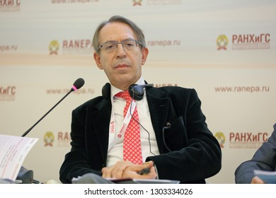 MOSCOW, RUSSIA - JAN 16, 2018: Jose Antonio Vera, Spanish journalist, President, Agencia EFE at the Gaidar Forum 2018