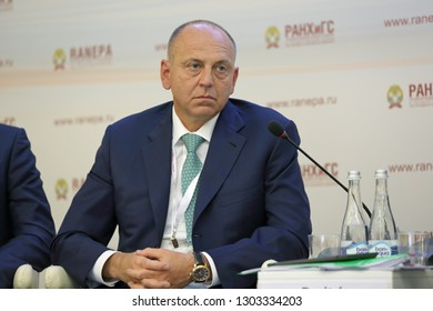 MOSCOW, RUSSIA - JAN 16, 2018: Dmitriy Pumpyanskiy, Chairman, Board of Directors, TMK OJSC (Pipe metallurgical company) at the Gaidar Forum 2018