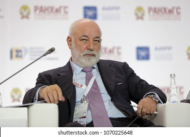 MOSCOW, RUSSIA - JAN 17, 2018: Viktor Vekselberg - Russian entrepreneur, billionaire, President of SKOLKOVO Foundation, Chairman of the Board of Directors of Renova group at the Gaidar Forum 2018
