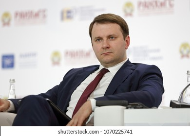 MOSCOW, RUSSIA - JAN 17, 2018: Maksim Stanislavovich Oreshkin - Minister of economic development of the Russian Federation at the Gaidar Forum 2018