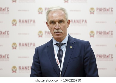 MOSCOW, RUSSIA - JAN 17, 2018: Sergei Ivanovich Morozov - Russian statesman, governor of Ulyanovsk Oblast at the Gaidar Forum 2018