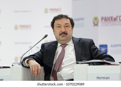 MOSCOW, RUSSIA - JAN 17, 2018: Vladimir Mau, Rector, Russian Presidential Academy of National Economy and Public Administration (RANEPA) at the Gaidar Forum 2018