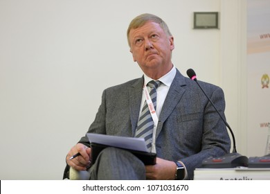 MOSCOW, RUSSIA - JAN 17, 2018: Anatoly Borisovich Chubais - Russian politician and businessman, Chairman of the executive board of Russian Nanotechnology Corporation (RUSNANO) at the Gaidar Forum 2018