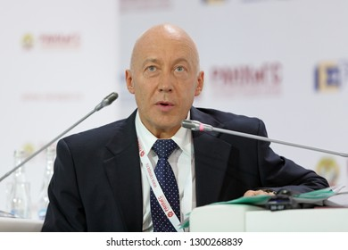 MOSCOW, RUSSIA - JAN 17, 2018: Sergey Sinelnikov-Murylev - rector, All-Russian Academy of Foreign Trade From Wikipedia, the free encyclopedia at the Gaidar Forum 2018