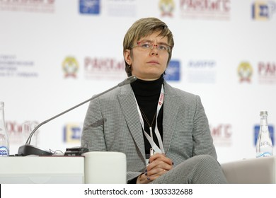 MOSCOW, RUSSIA - JAN 17, 2018: Mariya Sergeyevna Shklyaruk, Vice-President, Centre for Strategic Research at the Gaidar Forum 2018