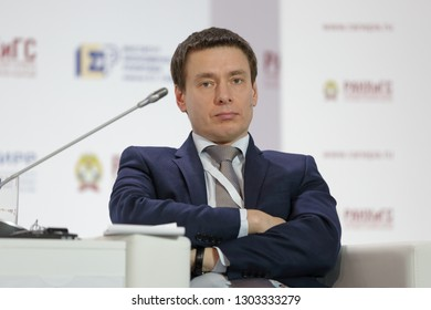 MOSCOW, RUSSIA - JAN 17, 2018: Andrey Slepnev, Deputy Chief, Government Staff of the Russian Federation - Director, Department of Project Activities, Government of the Russia at the Gaidar Forum 2018