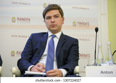 MOSCOW, RUSSIA - JAN 17, 2018: Anton Mikhailovich Grebeshev, Vice-President, Business Development with Companies, Gazprombank JSC at the Gaidar Forum 2018