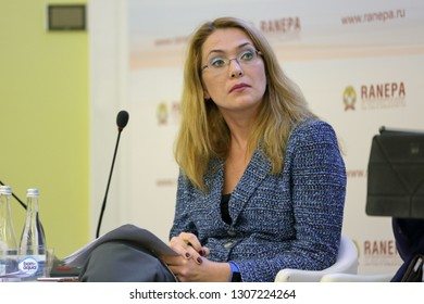 MOSCOW, RUSSIA - JAN 17, 2018: Irina Sergeevna Bakhtina, Vice-President, Member, Board of Directors, Unilever at the Gaidar Forum 2018